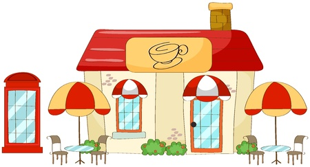 coffee house: illustration of a coffee house on a white background