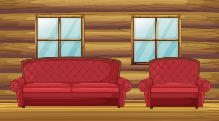 Illustration of red sofa and chair in wooden room