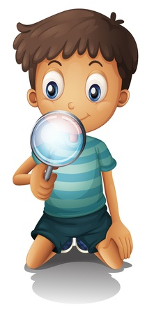 loupe: Illustration of a boy and a magnifier on a white background