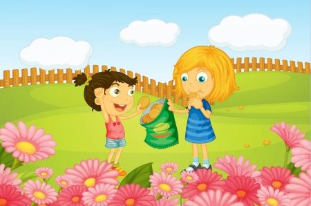 recoger: Ilustración de las niñas que comen las galletas en la naturaleza
