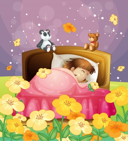Illustration of a girl sleeping in her bed in a beautiful nature Vectores