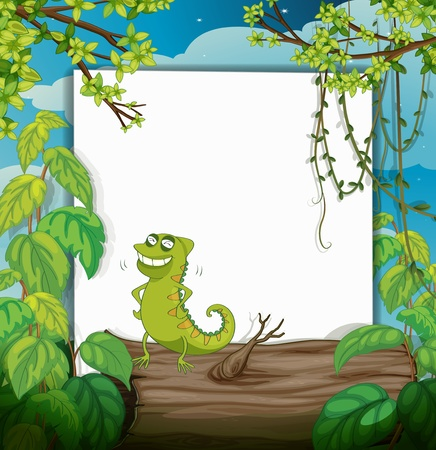 Illustration of a chameleon and a white board in a beautiful nature Vector