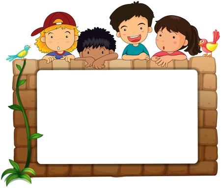 Ilustración de una pizarra blanca, los niños y los pájaros sobre un fondo blanco
