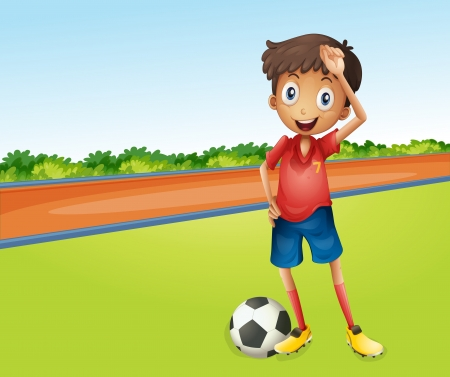 kids playing sports: Illustration of a boy playing football in a beautiful nature
