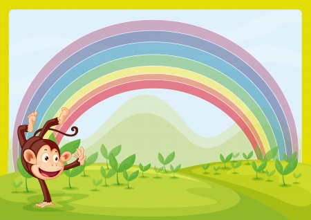 Illustration of rainbow and monkey playing in nature Vector