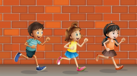 chase: Illustration of kids running in front of wall Illustration