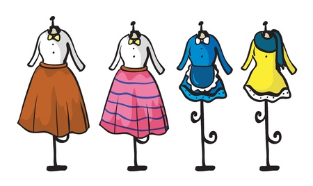 CLOTHES HANGING: Illustration of display of various garments on a white background Illustration