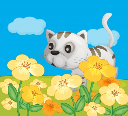 Illustration of a cat in a beautiful nature Vector