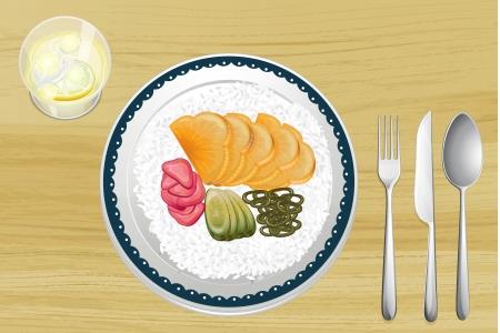 reis gekocht: Illustration des garniert Reis mit Obst-Scheiben in Schale