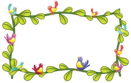 cartoon frame: Illustration of birds and plant design on a white background Illustration