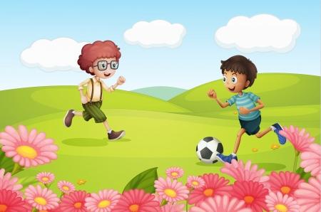 jugando futbol: Ilustración del fútbol jugando muchacho en una hermosa naturaleza