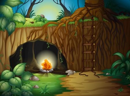 cueva: Ilustración de una fogata en una cueva en una hermosa naturaleza