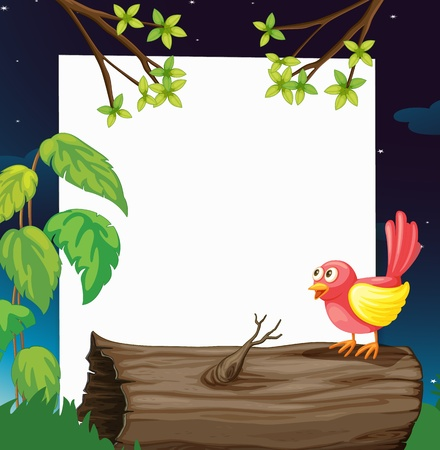 Illustration of a bird and a white board in a beautiful nature Vector