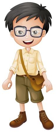Illustratie van een lachende jongen op een witte achtergrond