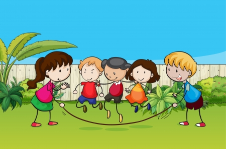 skipping: Illustration of playing kids in the garden Illustration