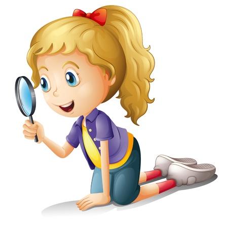 Illustratie van een meisje en een vergrootglas op een witte achtergrond