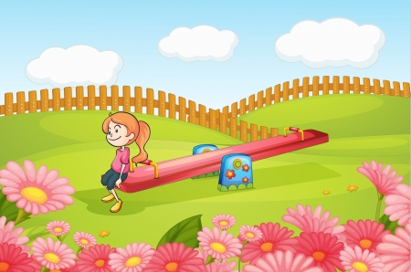 Illustration of a girl playing on a seesaw on a playground Vector