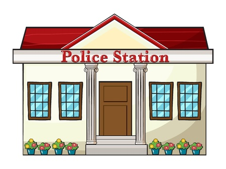 police cartoon: Illustration of a police station on a white background