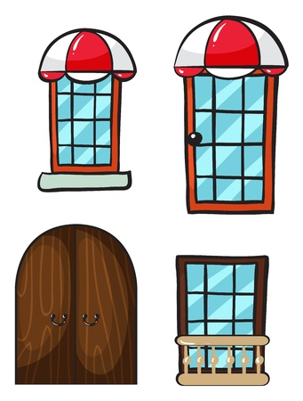 glass doors: Illustration of various windows and doors on a white background Illustration