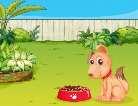 Illustration of a dog and a food in a beautiful nature Illustration