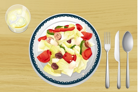 food clipart: Illustration of garnished salad in dish on wooden table