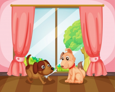 Illustration of a two dogs in a room Vector