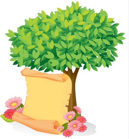 flora fauna: Illustration of a scroll under a tree on a white background Illustration