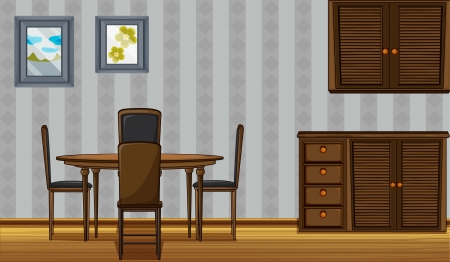 Illustration of wooden furniture in a home Vector