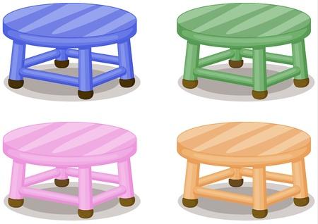sgabelli: Illustrazione di quattro sgabelli colorati su fondo bianco