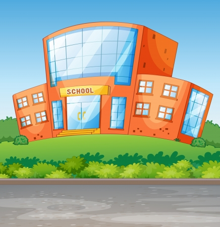 Illustration of a school building in a beautiful nature Vector