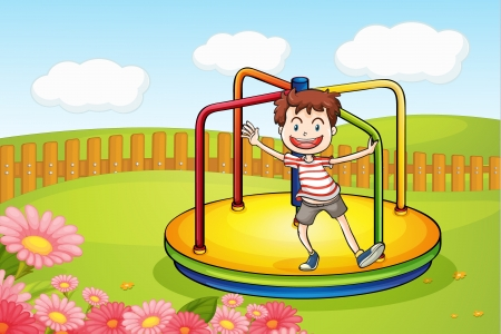 Illustration of a boy playing in a beautiful nature Stock Vector - 17024705