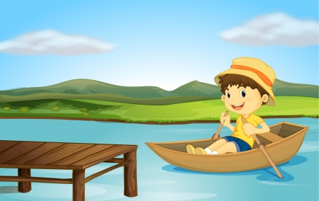 small boat: Illustration of a boy in a boat and a wooden bench in a river