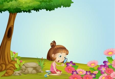 Illustration eines Mädchens und Lupe in einer wunderschönen Natur