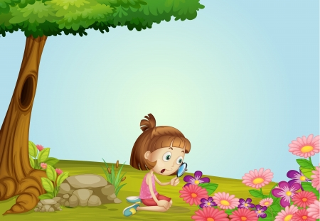 Illustration of a girl and magnifier in a beautiful nature