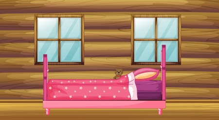 Illustration of a pink bed in a wooden room Stock Vector - 17024751