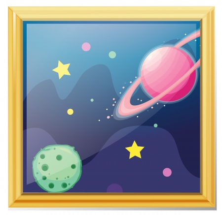 Illustration of a framed picture of the space on a white background Vector