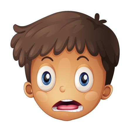 naughty: Illustration of a boy face on a white background