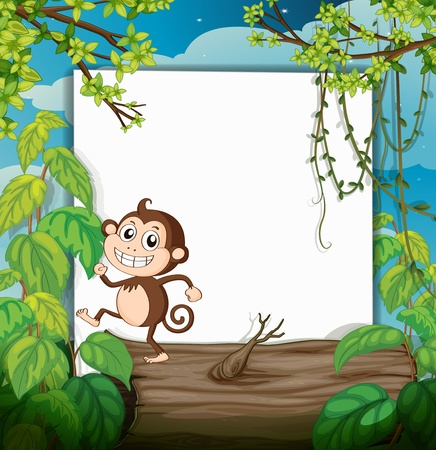 Illustration of a monkey and white board in green nature Stock Vector - 17024790
