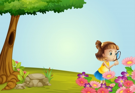 flora fauna: Illustration of a girl and a magnifier in a beautiful nature Illustration