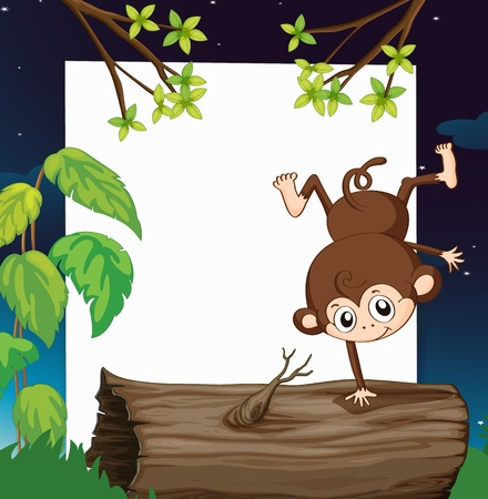 Illustration of a monkey and a white board in green nature Stock Vector - 17024715