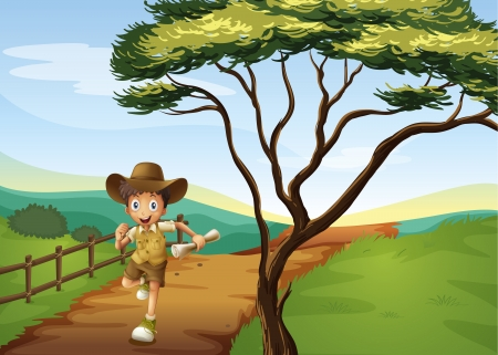 Illustration of a boy running in a beautiful nature Stock Vector - 17024738