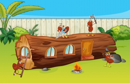 timber cutting: Illustration of ants and a wood house in a beautiful nature Illustration
