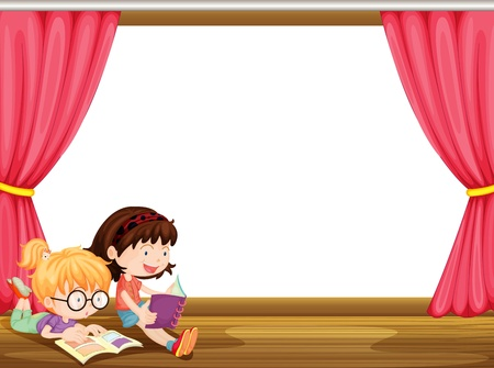 studing: Illustration of girls reading book in a room