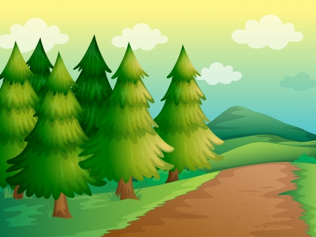 Illustration of a road in a beautiful nature Vector