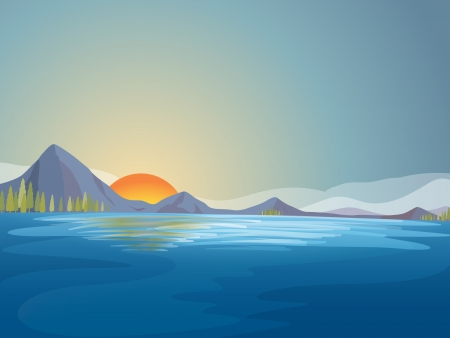 temperate: Illustration of beautiful sun water landscape Illustration