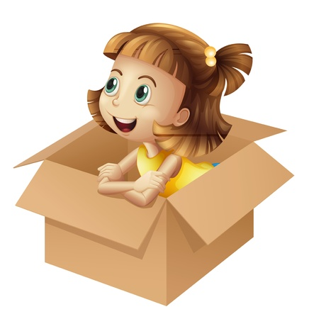 Illustration of girl in a box on white background Vector