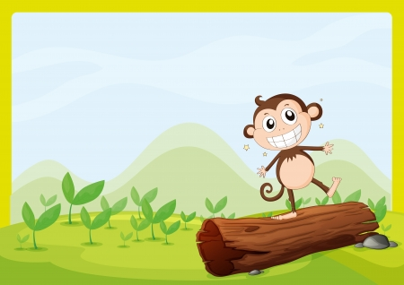 teeths: Illustration of monkey on wood in green nature