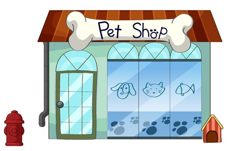 fish shop: illustration of a pet shop on a white background