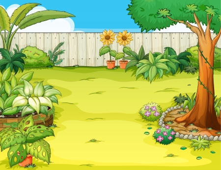 clouds  garden: Illustration of a beautiful garden and various plants