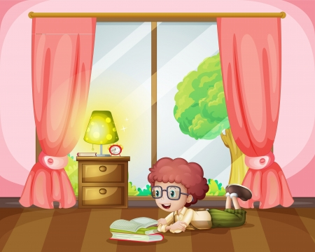 lying in: Illustration of a girl lying and reading book in room Illustration